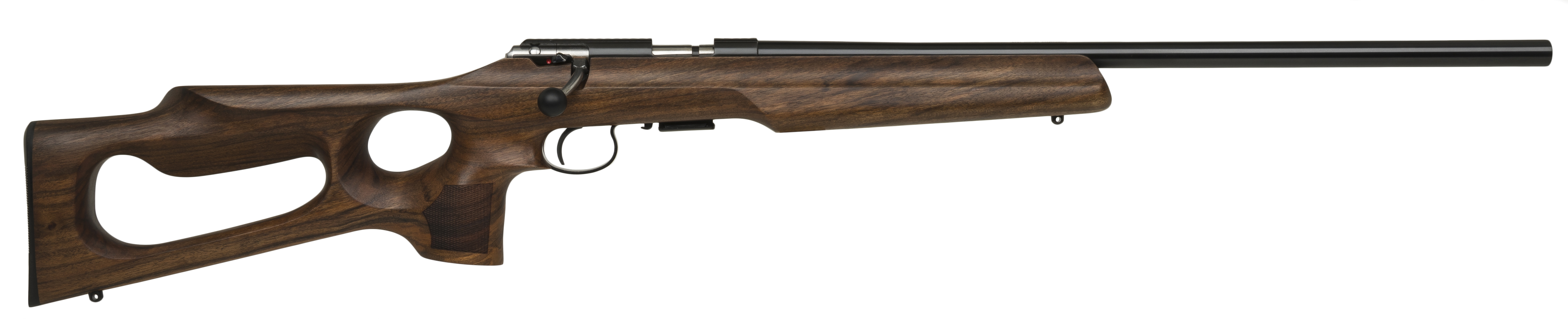 Rifle stock with thumb holes